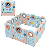 SINCHER Foldable Baby Playpen Baby Play Yards - 14 Panel Foldable Thicken Baby Playpen, Indoor Outdoor Infants Baby Fence wit