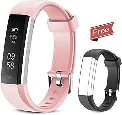 Fitness Armband Yuanguo Fitness Tracker IP67 Wasserdicht Schrittzähler Uhr Fitness Armbanduhr mit Ersatzarmband Schlafüberwachung Kalorienzähler Aktivitätstracker Anruf Nachricht Benachrichtigung für Damen Herrn Kinder
