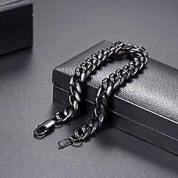 0 4 cm 10 mm de ancho Miami cubano Link cadena de pulsera de los hombres pulsera para hombre Joyer a Fit 7 5 8 3