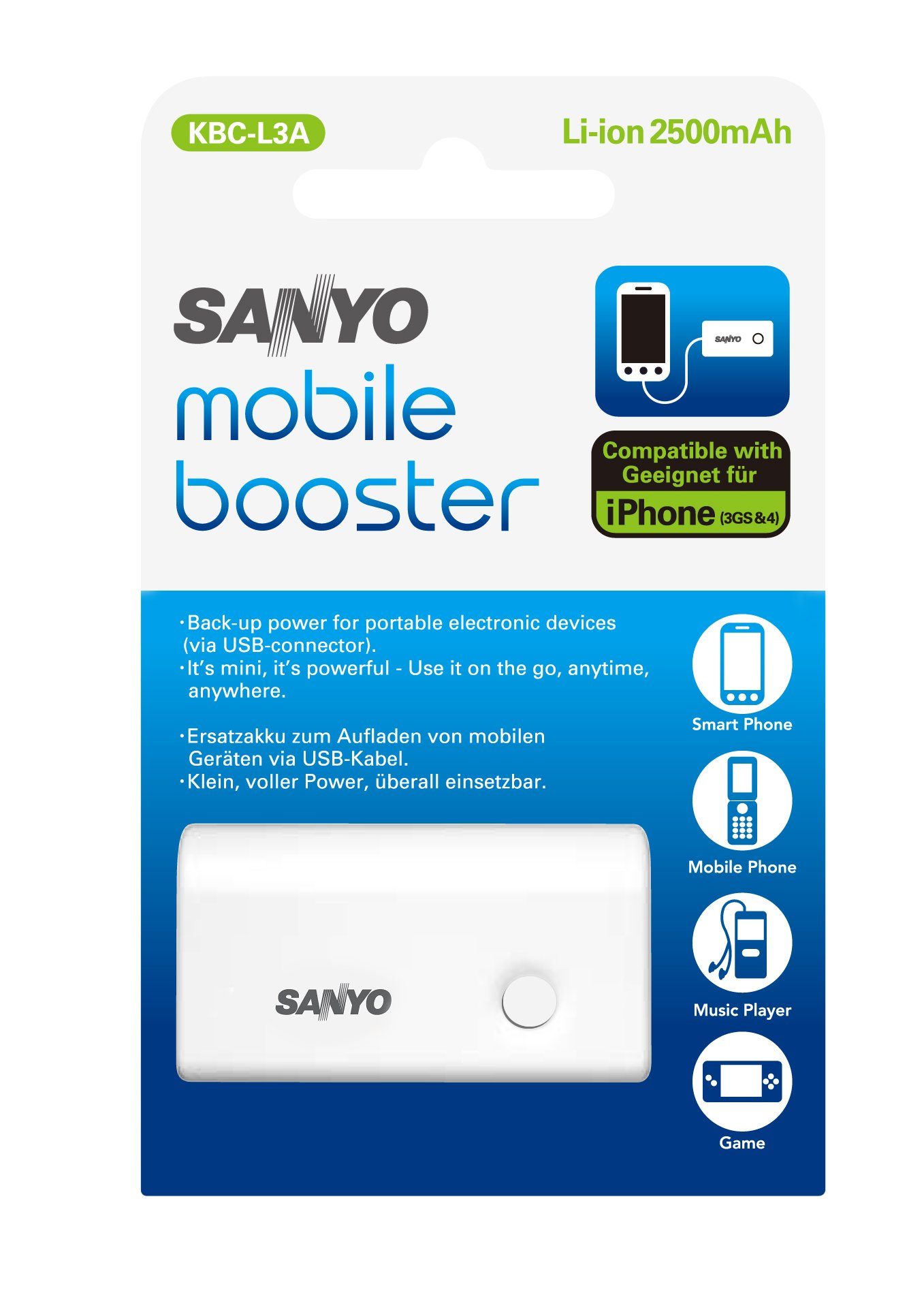 Sanyo Mobile booster Batteria al litio (USB Output)