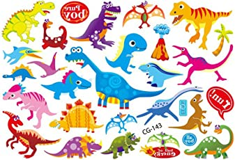 NUOLUX Kids Cartoon Temporary Tattoos Sticker Jurassic Dinosaurs Water Transfer Temporary Body Art Stickers for Children
