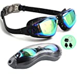 PrimAlite Swimming Goggles Silicone Anti-Fog, UV Protection for Adults Men Women Kids with Protection Case Kit- No...