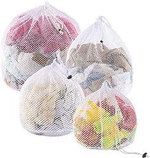 Yoassi 4 Stück Wäschenetz mit Kordelstopper Wäschebeutel Wäschesack für Waschmaschine, Unterwäsche, Babywäsche, Socken, Kaschmir