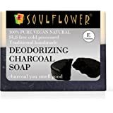 Soulflower Deodorizing Charcoal Soap – Handmade, 100% Pure, Natural & Cold processed Grade 1 BIS Standard Premium & Luxurious