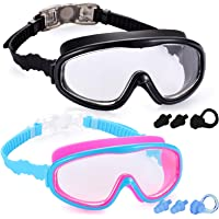 Yizerel 2 Pack Kids Swim Goggles, Swimming Glasses for Children and Early Teens from 3 to 15 Years Old, Wide Vision…