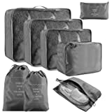 Packing Cubes for Suitcase, VLikeze 8 pcs Packing Cubes Set for Travel Luggage Organiser Bag Compression Pouches Clothes Shoes Cosmetics Toiletries Cable Storage Bags-Grey
