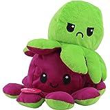KPRICE - Peluche Poulpe Double Face Humeur 20 Cm - Vert et Violet - Pieuvre Mignonne - Jouet Emotion Bi-Color - Poupée Animau