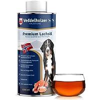 Veddelholzer Nachhaltiges Lachsöl für Hunde mit wertvollen Omega 3 und Omega 6 Fettsäuren - 1000ml Reines Lachsöl…