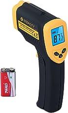 Etekcity Digital Laser Infrarot Thermometer IR Pyrometer berührungslos Temperaturmessgerät Temperaturmesser, -50 bis +550°C, LCD Beleuchtung, Gelb/Schwarz