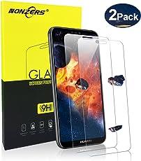 NONZERS Pellicola in Vetro per Huawei P20 Lite, [2 Pezzi] 2.5D Bordi Arrotondati, 9H Durezza, Ultra Resistente, Installazione Facile e Senza Bolle Vetro Temperato per Huawei P20 Lite