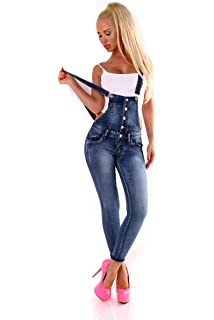 Fashion4Young 10026 Damen Latzhose Latzjeans R/öhrenjeans Jeans Hosentr/ägern Overall