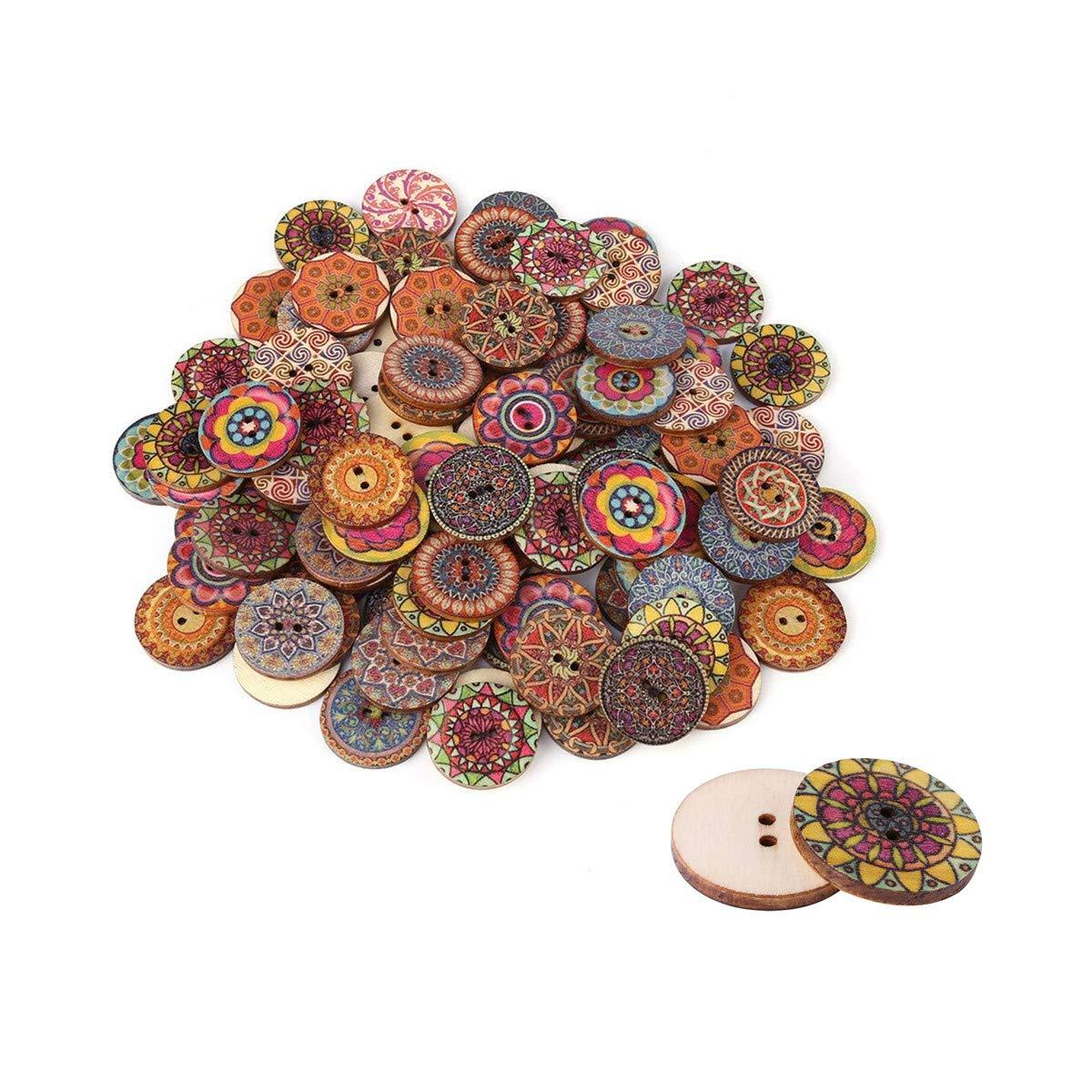 Dettagli su 100 pezzi 25 mm colore misto liscio bottoni in legno vintage 2 fori (H4h)