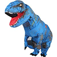 Zi Xi & Zi Qi T-Rex Inflatable Dinosaur Mascot Party Costume Fancy Dress Cosplay Outfit Adult (Blue)