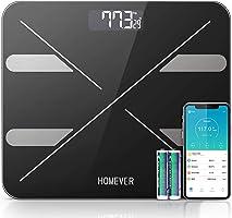 Escala de grasa corporal,Homever escala digital Escala personal con APLICACIÓN para peso, IMC, grasa corporal, agua