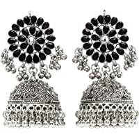 Karatcart Tribal Collection Traditional Indian Antique Oxidised Silver Stylish Afghan Jhumka Jhumki Earrings for Women…