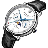 Mens Wrist Watch, Quartz Watches Men's Wristwatch Moon Phase Day Date Calendar Leather Strap 5ATM Waterproof Dress Watches fo