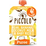 Piccolo Organic - Baby Food - 4 Months+ Pear, Banana, Coconut Milk & Baby Rice Puree - Pack of 5 x 100g - Stage 1 Baby…