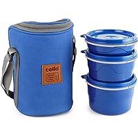 Cello Max Fresh Hot Wave Lunch Box Inner Steel, Blue, (Capacity - 225ml, 375ml & 550ml)