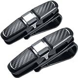 FineGood - Set di 2 supporti per occhiali da sole da auto, con clip per carte di credito, colore nero