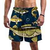 Abenily Men's Swim Trunks Walleye Fish Board Shorts with 2 Pockets Surfing Beach Shorts Breathable Mesh Lining Quick Dry
