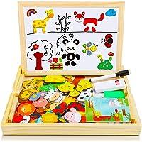 COOLJOY Puzzles en Bois Magnétique,100 + Pièces Animaux Domestiques de mignons Puzzle Aimant Jigsaw Avec Tableau Noir de…