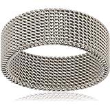 Mesh Fashion Unique Design Silver Men Ring Size 10