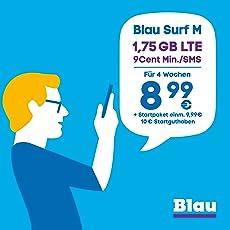 Blau Surf M (SIM, Micro-SIM und Nano-SIM), ohne Vertragslaufzeit, 1,75 GB mit LTE, 9 Cent pro Min./SMS in alle dt. Netze, EU-Vorteil, 8,99€/Monat, inkl. 10€ Startguthaben, O2 Netz