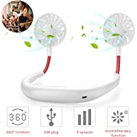 Lazy Neck Fan USB Rechargeable Portable Mini Wearable Neckband Fan with Led Light Electric Dual Neck Flexible for Face,Aromatherapy for Gym,Travel,Office (White)