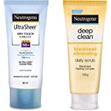 Neutrogena Ultra Sheer Dry Touch Sunblock SPF 50+ Sunscreen Lotion for Women and Men, 88ml and Neutrogena Deep Clean Scrub Bl