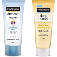 Neutrogena Ultra Sheer Dry Touch Sunblock SPF 50+ Sunscreen Lotion for Women and Men, 88ml and Neutrogena Deep Clean…