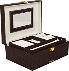 RICHPIKS Plastic Travel Friendly Jewellery Box (Coffee Brown and Cherry, 20x15x8cm)