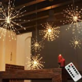 PXB 200LED Hanging Sphere Lights, Battery Operated Starburst Lights, 8 Modes Dimmable Remote Control, Waterproof Fairy Lights