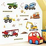 decalmile Stickers Muraux Construction Autocollant Décoratifs Camions Véhicules Décoration Murale Chambre Enfants Chambre Béb