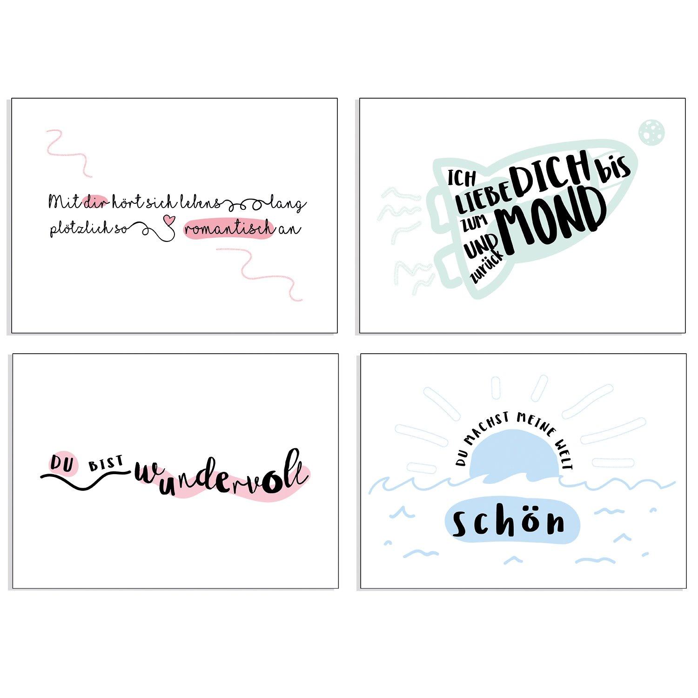 """Postkarte Liebe/"""" Wir/"""" Schöner Spruch /& Motiv"""