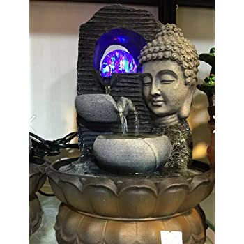 Fengshui Water Fountains - Enchanting Buddha with Crystal Ball and LED Light
