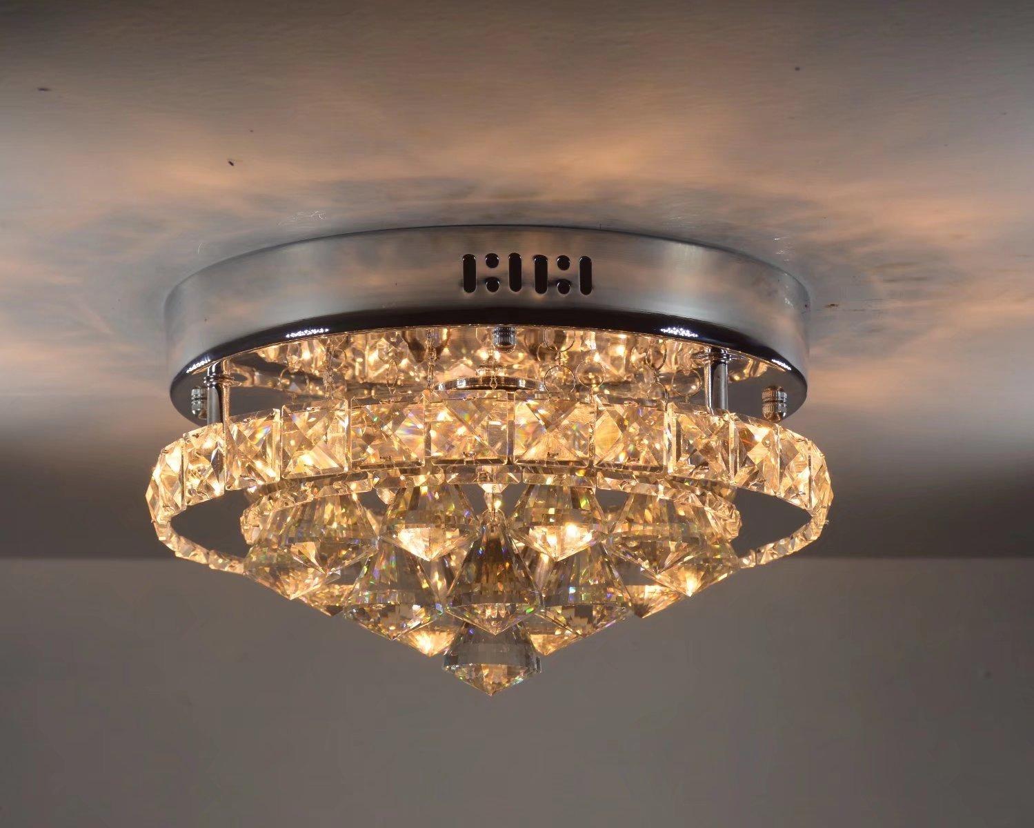Plafoniera Cristallo Led : Sflgmf plafoniera moderna a led in cristallo luce camera da letto