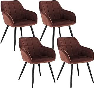 WOLTU 4 x Esszimmerstühle 4er Set Esszimmerstuhl Küchenstuhl Polsterstuhl Design Stuhl mit Armlehne, mit Sitzfläche aus Samt, Gestell aus Metall,