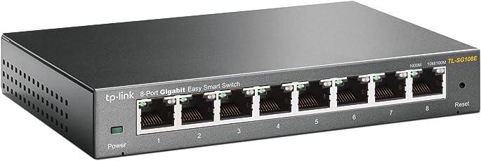 TP-Link TL-SG108E 8-Port Gigabit Easy Smart Managed Switch (Plug-and-Play, Gigabit Ports, Metallgehäuse, VLAN, QoS)