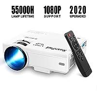 XuanPad Projecteur, 2020 Mini Projecteur Vidéoprojecteur Portable, 55000 Heures Multimédia Home Cinéma Projecteur, Compatible avec Full HD 1080P HDMI, VGA, USB, AV