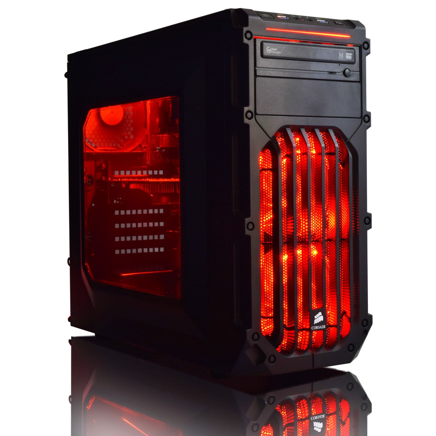 ADMI ULTRA GAMING PC – AMD FX-6350 High Spec Red LED Home, Family, Multimedia Desktop Gaming Computer with Platinum Warranty: Powerful Six Core 4.20GHz Turbo CPU, NVIDIA GTX 750Ti 2GB HDMI Graphics Card, 8GB 1600MHz DDR3 RAM, 1TB Hard Drive Storage, HDMI Output 1080p, High Speed USB 3.0, 150Mbps WiFi included, Pre-Installed with Windows 7 Home Premium 64bit Operating System