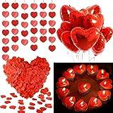 Palloncini a Forma di Cuore, MMTX Lattice Palloncini e Pompa e Candele Rosse, Seta Petali,Cuore Rosso Grande per Matrimoni, A