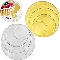 WisFox Supports à Gâteaux Carton 8 pièces à Gâteaux Ronde Plat à Gâteau Décoration Diamètre 6/8/10/12 Pouce - Argent et…