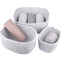 La Jolíe Muse Panier de rangement de 13,5 cm en coton tissé, ensemble de 3 paniers empilables à usages multiples, blanc…