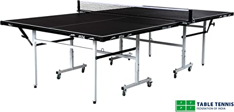 Stag Fun Line Table Tennis Table Top Thickness 15 mm with Net Set, Table Cover, 2 Racquets and 6 Balls Features Quick Assembly and Play Back Mode