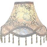 """Eastlion 11.8"""" E27/E14 Abat-jour Lampe de Table Fait Main en Tissu,Argent"""