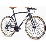 "CHRISSON 28"" Zoll URBAN RENNRAD Fahrrad Vintage Road 3.0 mit 21G Shimano A070 Retro Look schwarz matt"