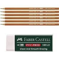 Faber-Castell 188121 - Radierer 7081 N PVC-Free, Kunststoff + 6 Bleistifte 111700