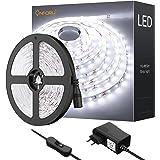 Onforu 5M Ruban LED, Flexible Bande LED 12V, 300LEDs Bande Lumineuse avec Interrupteur et Adaptateur, Décor Bandeau Autocolla