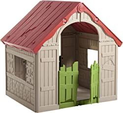 Keter The Wonderfold - Keter Easy To Fold Children's Folding Playhouse For Portable Indoor And Outdoor Fun - Red & Green