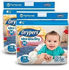 Drypers Wee Wee Dry Medium Size Diapers (Pack Of 2, 74 Counts Per Pack)